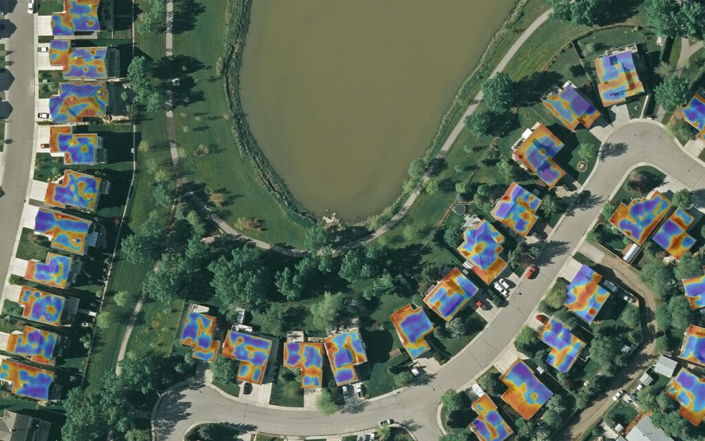 Arial heat map of neighborhood houses
